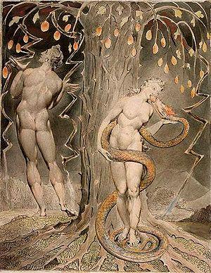 Eva prende il frutto proibito e lo mangia