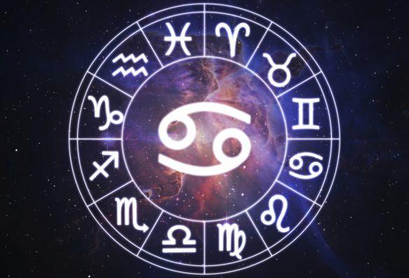 Cancer - horoscope circle on beautiful space background