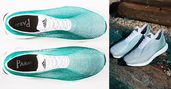 Scarpe prodotte con bottiglie di plastica e reti da pesca