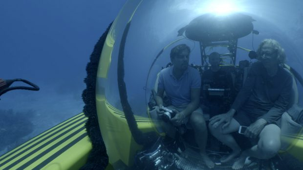 THE BAHAMAS- Leonardo diving with Jeremy Jackson discussing the oceans. For two years, Leonardo DiCaprio has criss-crossed the planet in his role as UN messenger of Peace on Climate Change. This film, executive produced by Brett Ratner and Martin Scorsese, follows that journey to find both the crisis points and the solutions to this existential threat to human species. © 2016 RatPac Documentary Films, LLC and Greenhour Corporation, Inc. All rights reserved.