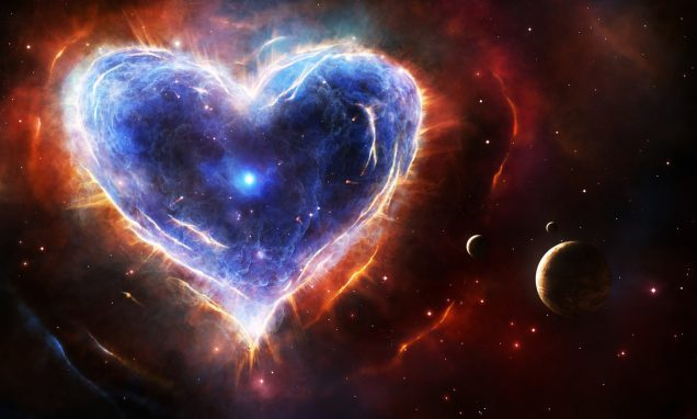 Supernova nebula in heart shape with planets and stars.